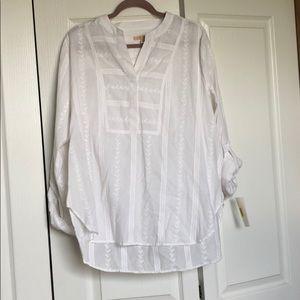 NWT!! Gibson Latimer Long Sleeve Blouse White